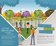 People on colorful park. Template for advertising brochure with people on colorful park Stock Images