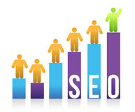 People and colorful seo graph illustration Royalty Free Stock Photo