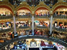 People in galeries lafayette in Paris, France stock photography