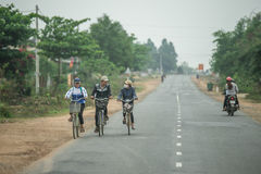 People come back home by bicycle in nha trang Stock Image