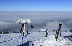 People come down from the mountain. On skis Stock Images