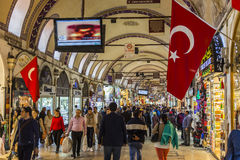 People come here for gold and foreign currency. The Turkish flag hanging in shops. There are too many people in the bazaar Stock Photography