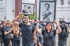 People come for singing the anthem of Thai king Stock Image