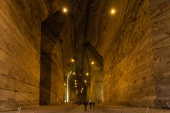 the giant galleries of this incredible salt mine Slănic, Romania stock image