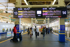 People come to the train station in Nagano, Japan Royalty Free Stock Image