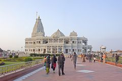 People comes to Prem Mandir Stock Photo