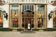 People coming out of the famous Gerbeaud coffe shop Royalty Free Stock Photos