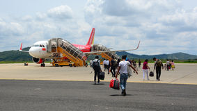 People coming to the airplane at airport in Haiphong, Vietnam Stock Photos