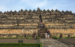 People coming to the Borobudur temple, Indonesia Royalty Free Stock Image
