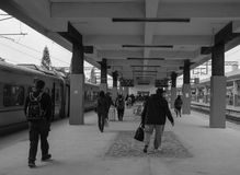 People coming to the flatform at train station in Taichung, Taiwan Royalty Free Stock Photos