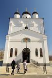People coming to Spaso-Uspensky monastery, Orel, Russia Royalty Free Stock Images