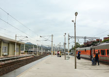 People coming to the train at station in Chiayi, Taiwan Royalty Free Stock Photography