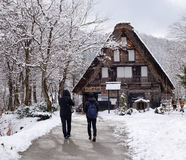 People coming to the wooden house in Takayama, Japan Stock Image
