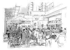 People in commercial and busy street. Sketch of crowd of people in commercial and busy street stock illustration