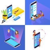 People communicate with friends through social networks royalty free illustration