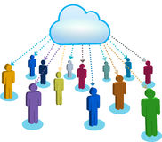 People communicating in  cloud. People communicating in cloud with arrows Royalty Free Stock Images