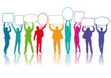 People communicating. Colorful silhouettes of people holding speech balloons, communication concept on a white background stock illustration