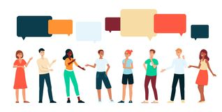 People communicating with speech bubbles above head cartoon style. Vector illustration isolated on white background. Group of men and women talking to each royalty free illustration