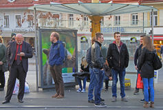 People are communicating on the street in Graz Stock Images