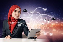 smile face expression, young women holding her tablet over abstract background Stock Photography
