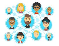 People communications in social media. Network web. Friends, followers. Vector flat cartoon character illustration icon design. Isolated on white background Royalty Free Stock Photo