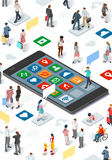 People Community and Isometric Smartphone Vector Infographic. Connecting people and social media graphic vector template with flat isometric elements people and Stock Photos