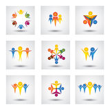 People, community, kids vector icons and design elements. This graphic also represents team & teamwork, leader & leadership, success & winning, group unity Royalty Free Stock Images