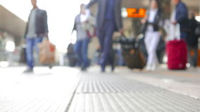 People Commuting to Work. People transfering between different platforms, front focused stock video
