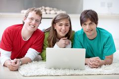 People with a computer Stock Photography