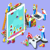 People Computer Video Game Gaming Isometric Vector Illustration Stock Images