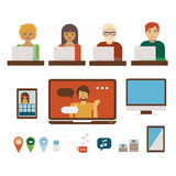 People at computers illystrations set Stock Images