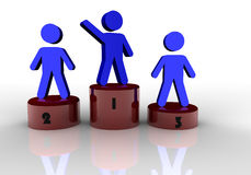 People concept of first place. People concept of first, second and third place Stock Images