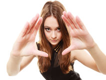 People concept - teenage girl making frame with hands Royalty Free Stock Photo