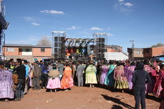 People at Concert in Bolivian village, Altiplano, La Paz Stock Photos