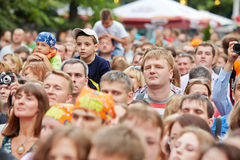 People at concert of Chaif rock-band Stock Image
