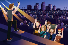 People in a concert. A vector illustration people in a concert Royalty Free Stock Images