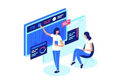 People conduct a discussion online on Internet, messages, on forum. Concept women communicate and analyze information, graphics. Vector illustration stock illustration