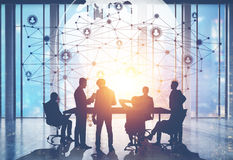 People in conference room and network Stock Photos