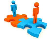 People connect for partnership. Partnership concept, 3d people connecting 2 pieces of puzzle jigsaw, for larger business formation, merger or partnership vector illustration