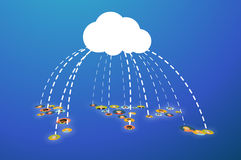 People connected In Cloud, flat illustration Royalty Free Stock Photo