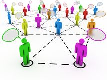 People connected with speech bubbles. Colorful people creating abstract network Royalty Free Stock Images