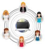 People connected by technology Stock Image