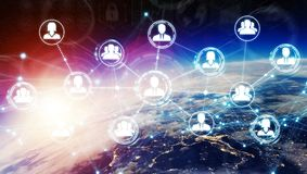 Digital social network on planet Earth 3D rendering. People connected to each other with social network over the globe 3D rendering elements of this image Royalty Free Stock Images