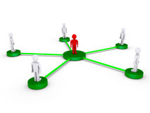 People connected using one intermediate. 3d people on platforms connected to a red person at the center Royalty Free Stock Images