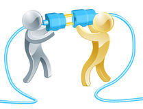 People connecting concept. Conceptual illustration of two people connecting a giant plug Royalty Free Stock Images
