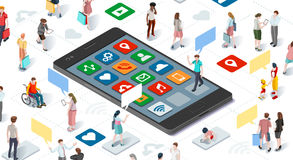 People Connecting Smartphone Isometric Vector Infographic Royalty Free Stock Photo