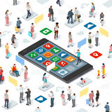 People Connecting Smartphone Vector Isometric Infographic stock illustration