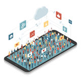 People connecting through social media. They are standing on a smartphone and chatting together Royalty Free Stock Photos