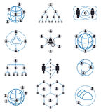 People connection and network icons stock illustration