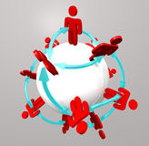 People Connections - Social Network. Many people connected in a social network around a sphere Royalty Free Stock Photos